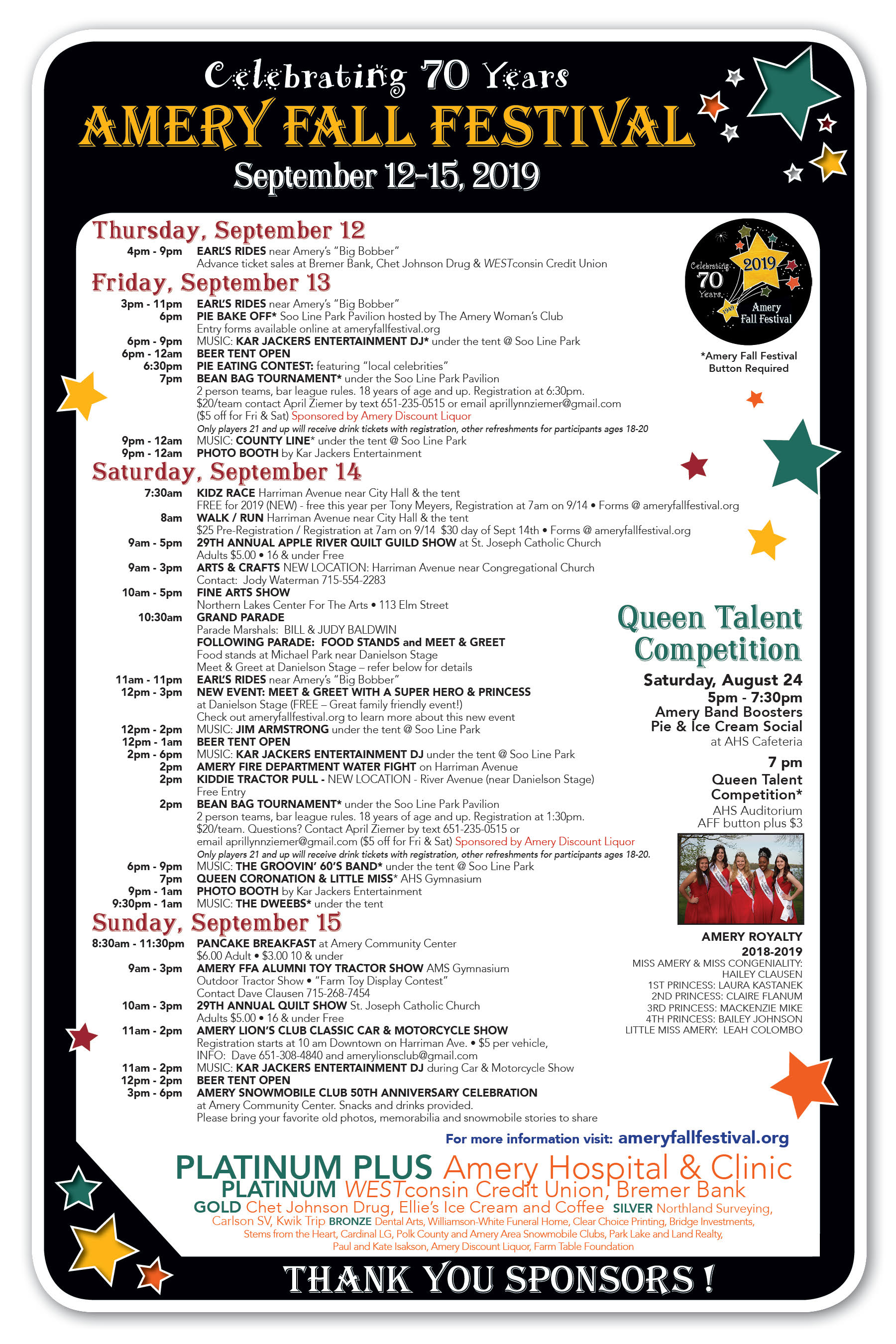 2019 Event Poster - Amery Fall Festival
